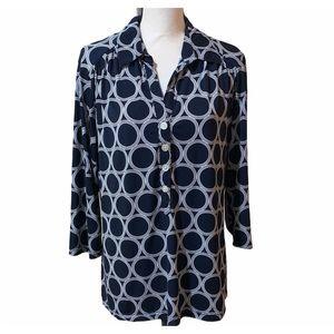 Alfani Woman Navy Blue Half Sleeve Top Blouse 1X